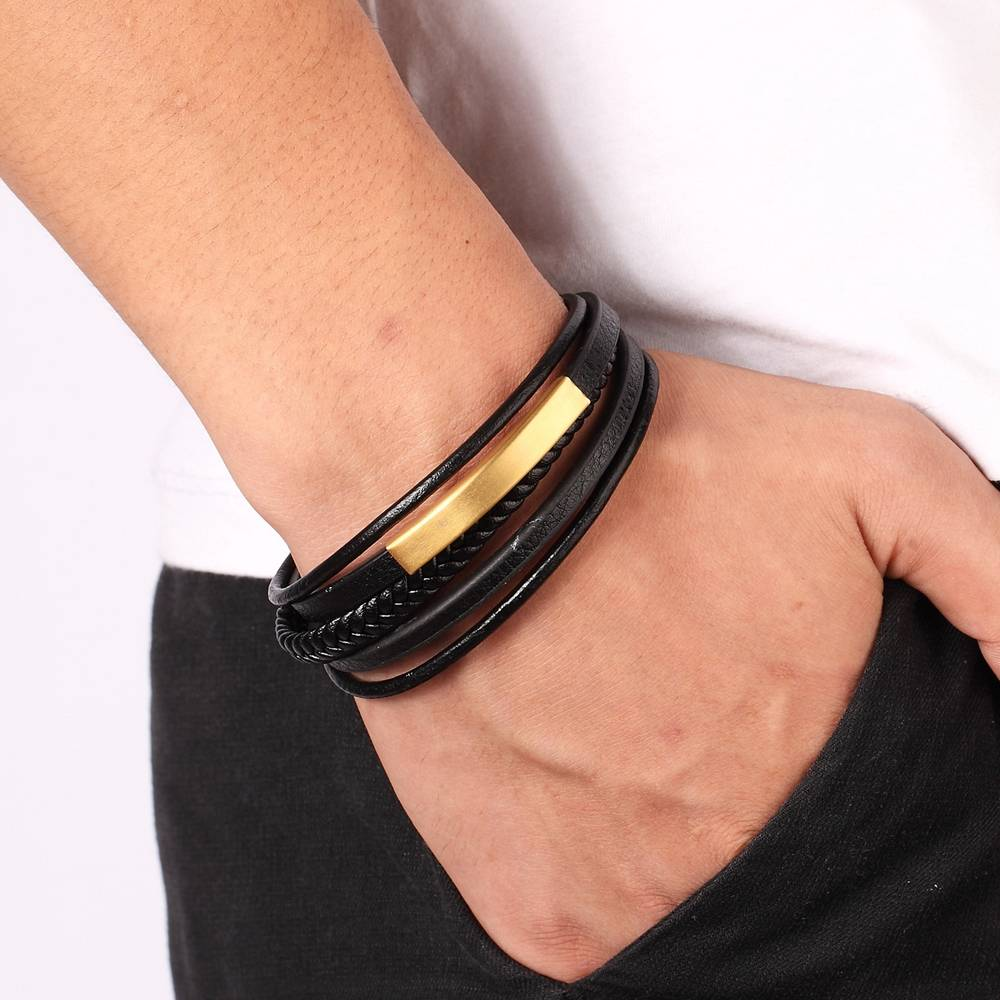 XQNI Classic Genuine Leather And Stainless Steel Bracelet For Men