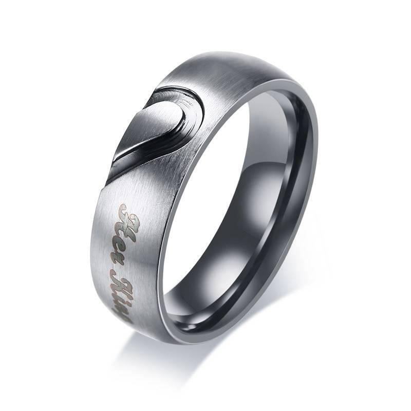 EMBER – Cute Heart Printed Stainless Steel Couple Rings