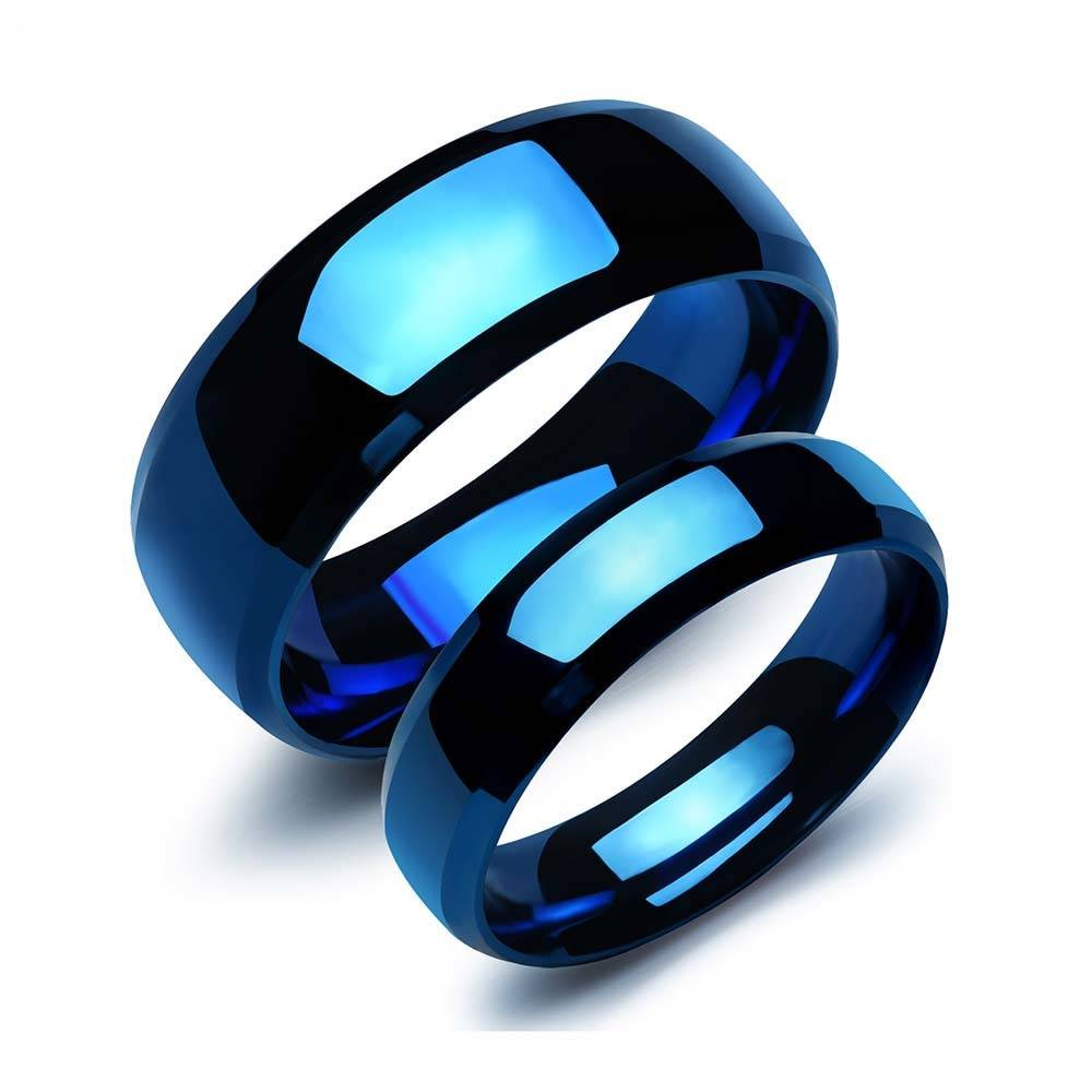 Enigmatic Blue Stainless Steel Couple Rings