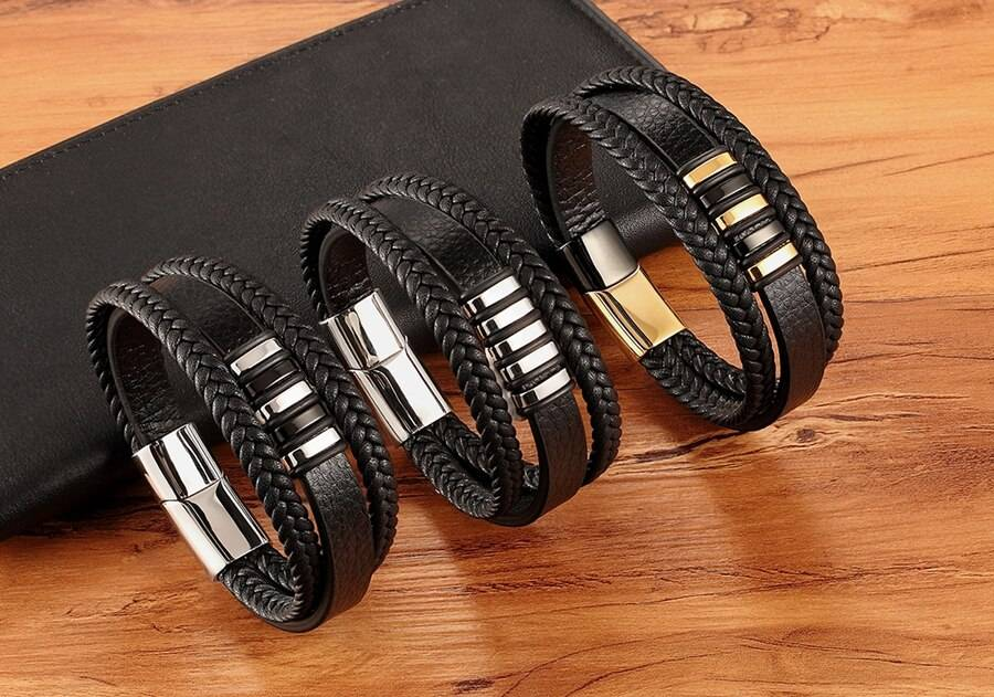 JAS – Genuine Leather and Stainless Steel Bracelet for Men
