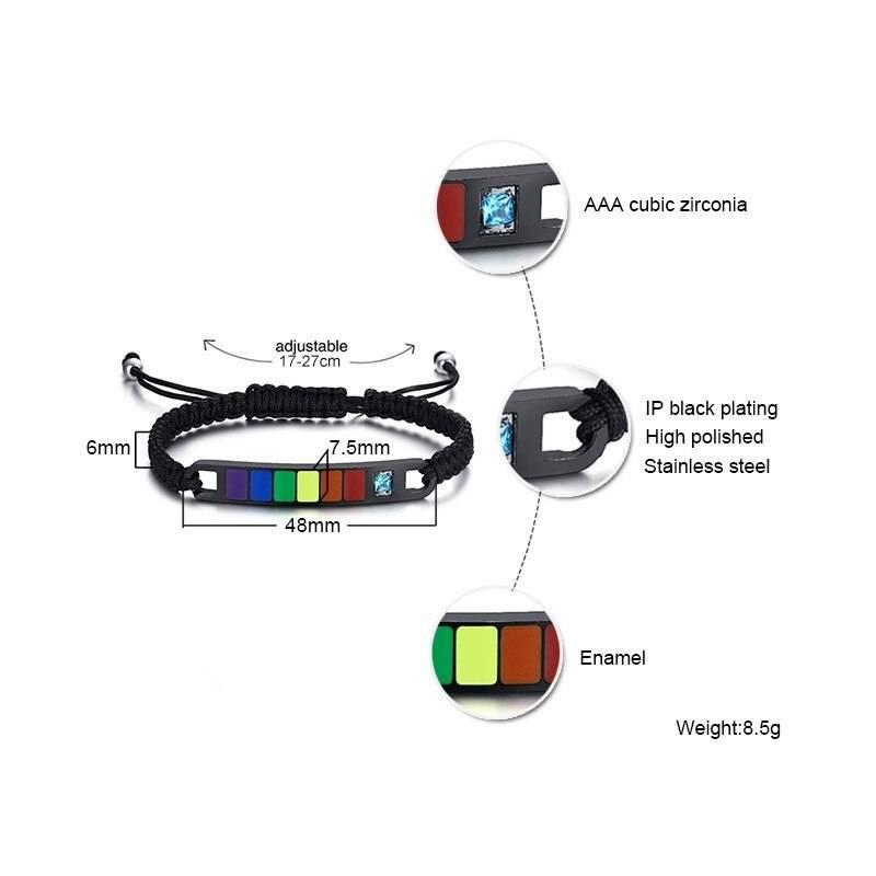 Rainbow Stainles Steel Bar and Resin Pride Bracelet – ARI