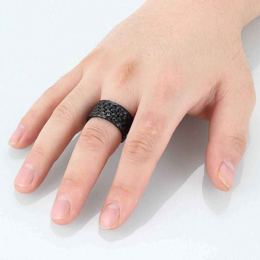 12MM Stainless Steel Men's Rings Gold Black Color Interwoven Punk Finger Ring Fashion Male Jewelry Party Gift