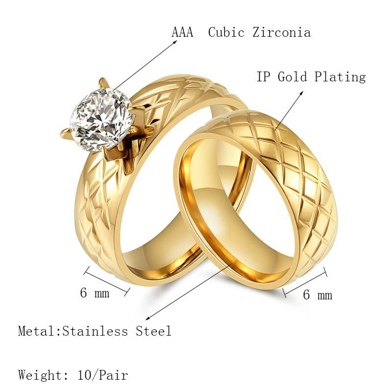 Trendy Gold Color Engagement Wedding Rings Set For Women Titanium Steel Band Ring Cut Cubic Zirconia Round Fashion Jewelry 2019