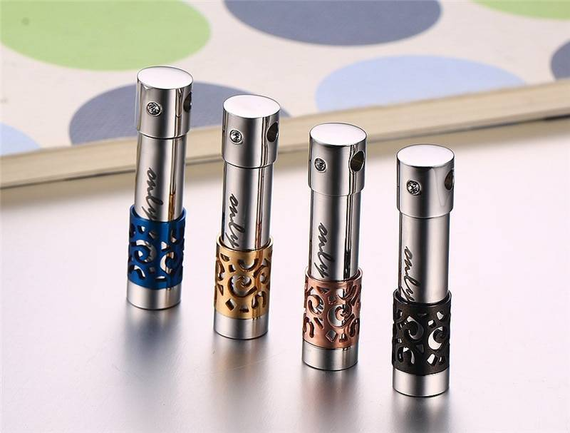 """ZORCVENS Mens""""Only Lover"""" Perfume Bottle Shaped Pendant Necklace Stainless Steel Remembrance Jewelry Opens Collares Collier"""