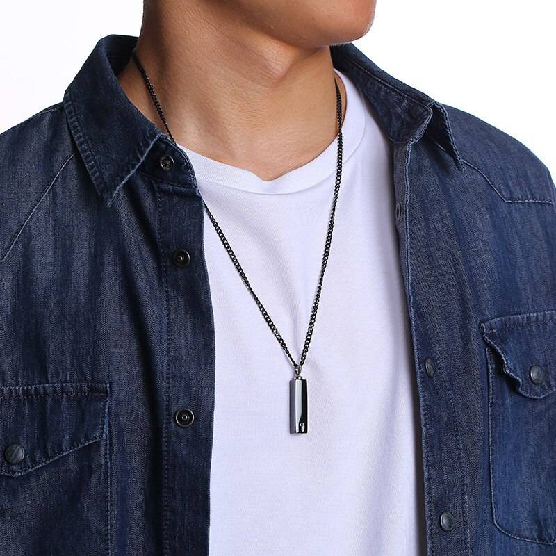 Personalized Vertical Bar Pendant Necklace – TOM Men Necklaces Men's Jewellery Pendant Necklace 8d255f28538fbae46aeae7: Black|Silver