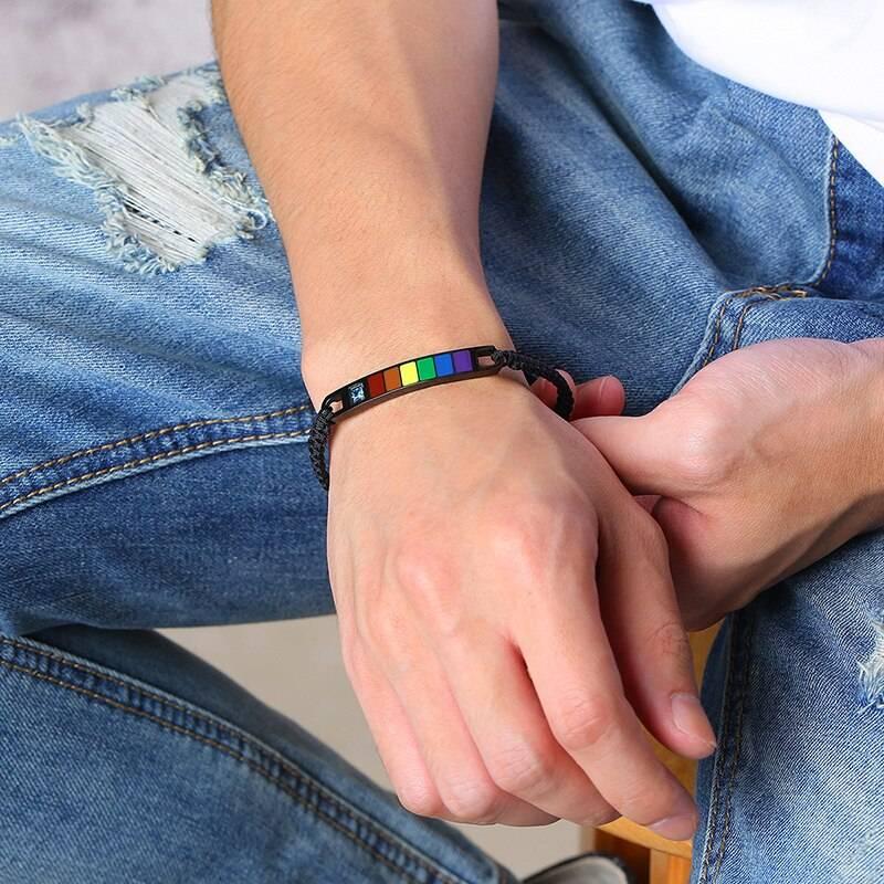 Rainbow Stainles Steel Bar and Resin Pride Bracelet – ARI Bracelets Mens Bracelets Rainbow Jewellery 8d255f28538fbae46aeae7: Men bracelet|Women bracelet