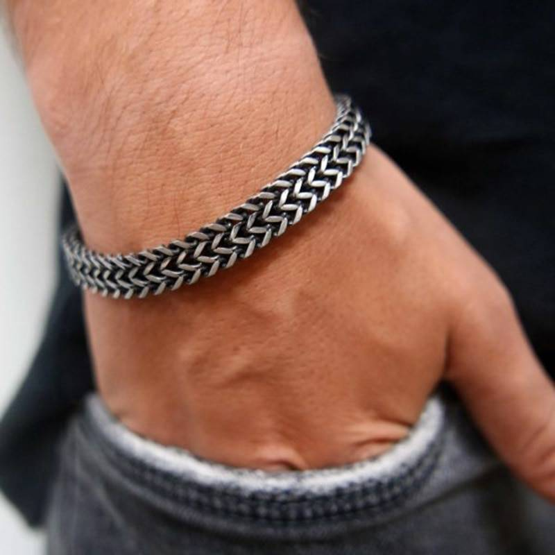 Vnox Vintage Oxidized Cool Double Curb Chain Bracelets for Men Stainless Steel Punk Antique Cubic Foxtail Chain Male Pulseira Uncategorized 8d255f28538fbae46aeae7: 12mm Silver|6.5 Lobster Black|6.5 Lobster Gold|6.5 Lobster Silver|6.5mm Black|6.5mm Gold|6.5mm Silver|6.5mm Vintage|8.5mm Silver|8mm Vintage